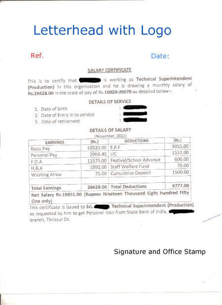 Format of Salary Certificate letter and Sample Salary Certificate For Bank Loans