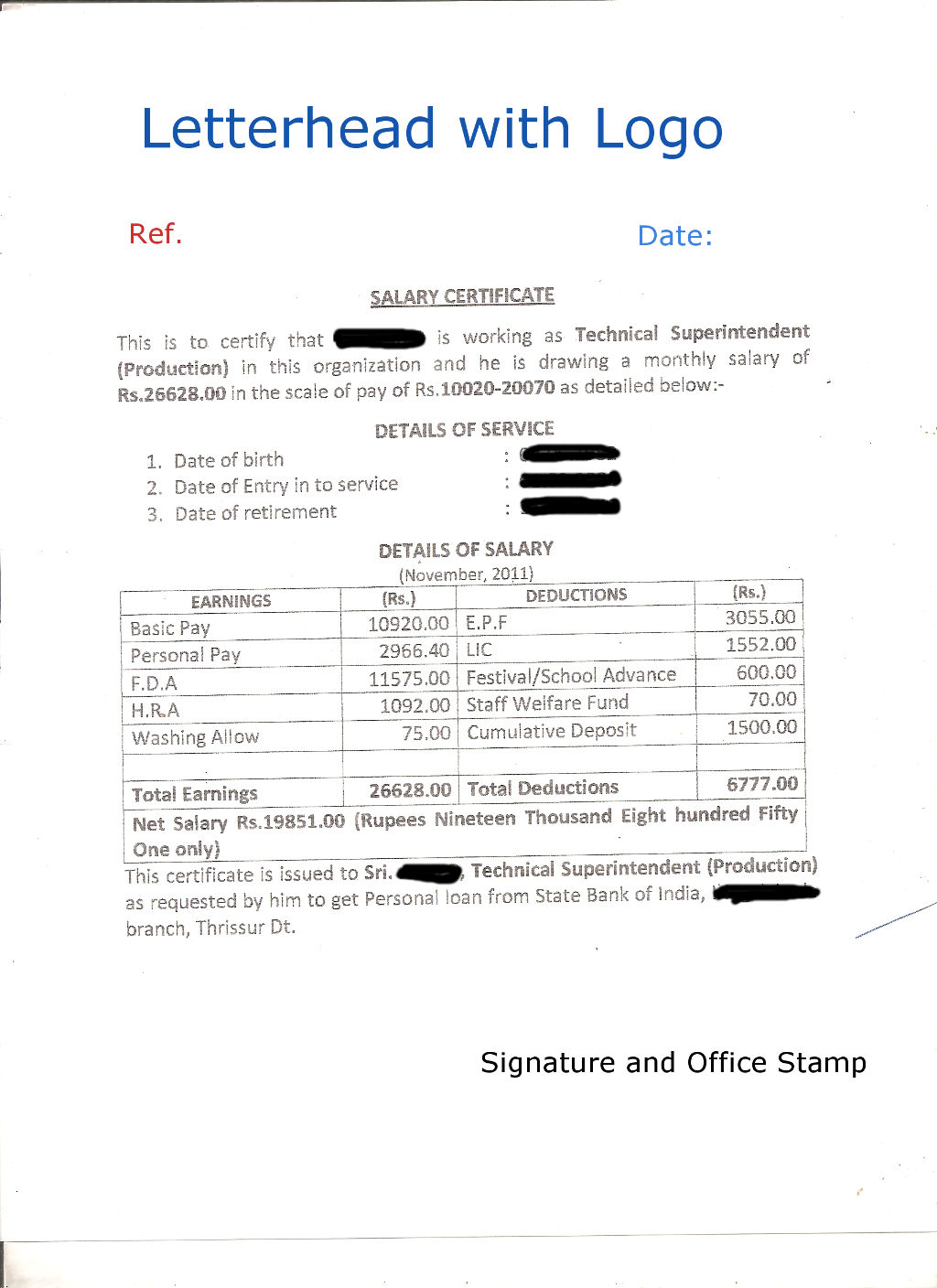 sample of certificate of compensation