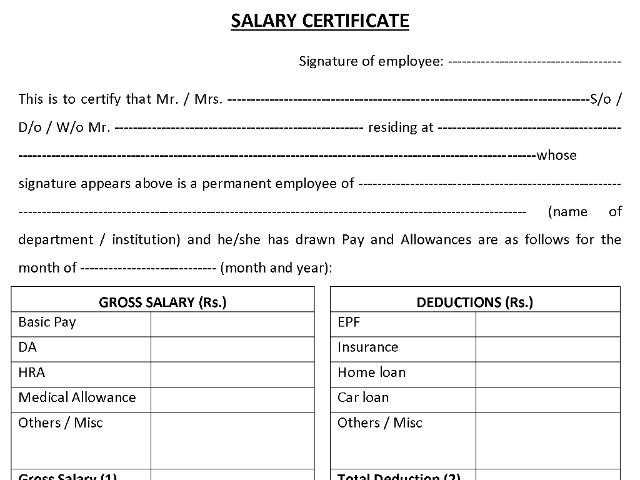 Representative Image For Salary Certificate Format