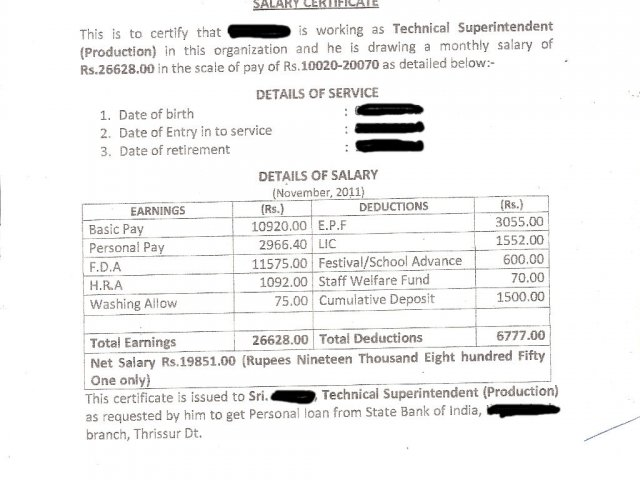 Format Of Salary Certificate And Sample Salary Certificate