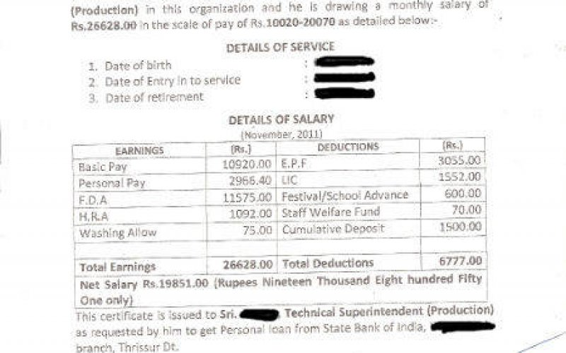 Format of salary certificate and sample salary certificate for bank format of salary certificate and sample salary certificate for bank loans mala altavistaventures Gallery