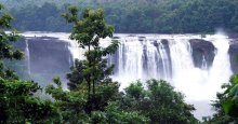 Athirapally waterfalls during mosoon season