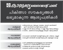 "Empaneled Hospitals That Provide Treatment Under ""Karunya Benevolent Fund"" Scheme, Kerala Lotteries"