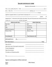 salary certificate form
